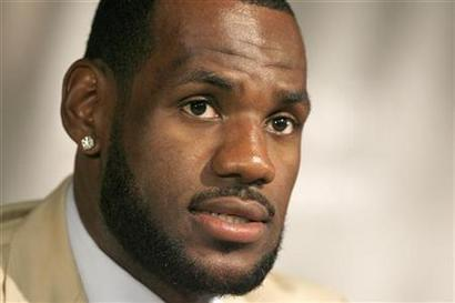 LeBron James speaks at a news conference in Miami